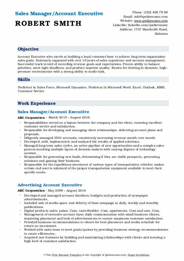 Sales Manager/Account Executive Resume Model
