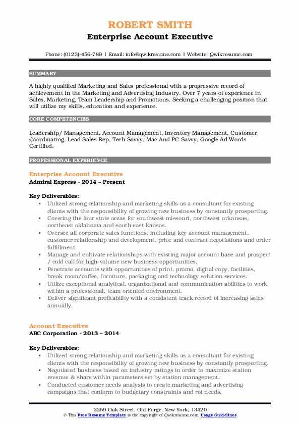 Enterprise Account Executive Resume Format