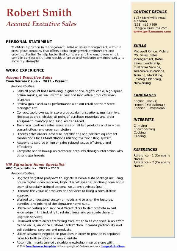 Account Executive Sales Resume Model