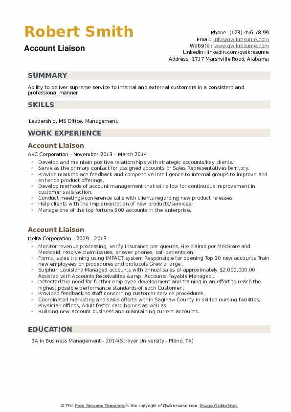 Account Liaison Resume example