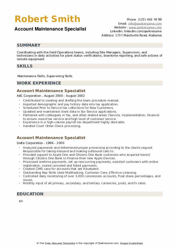Account Maintenance Specialist Resume example
