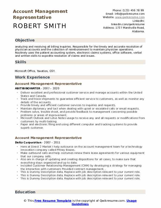 Account Management Representative Resume example