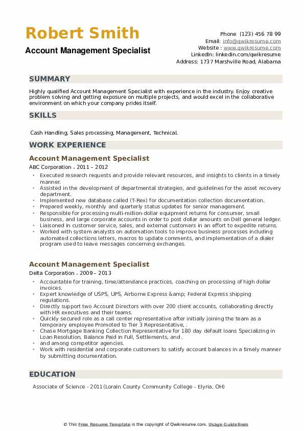Account Management Specialist Resume example