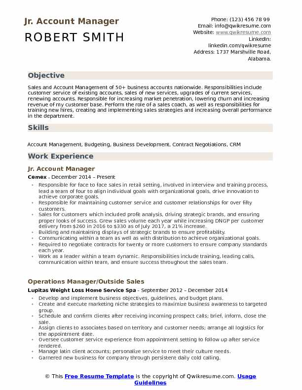 Jr. Account Manager Resume Format