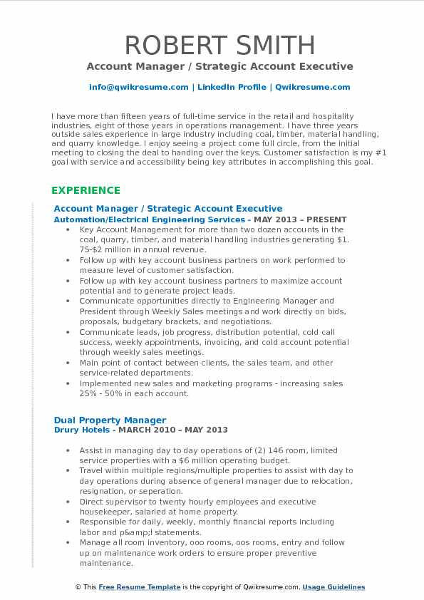 strategic account manager resume