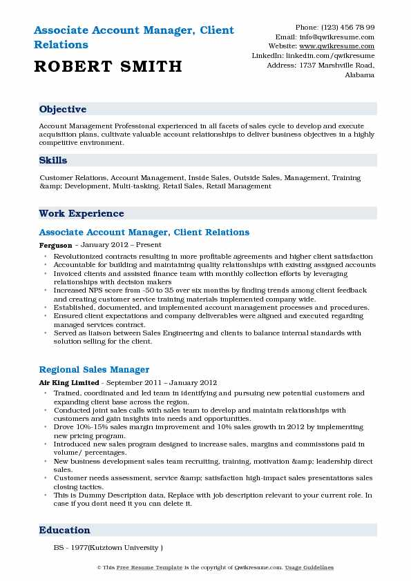 High Quality Associate Account Manager, Client Relations Resume Sample