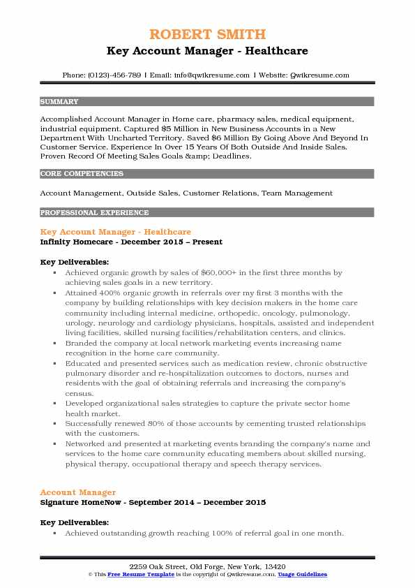 Key Account Manager   Healthcare Resume Sample  Healthcare Resume Samples