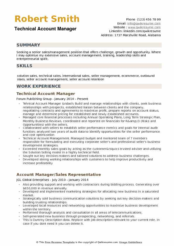 Technical Account Manager Resume Sample  Technical Manager Resume