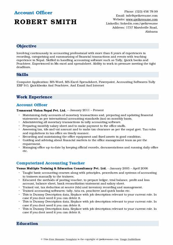 Account Officer Resume Format
