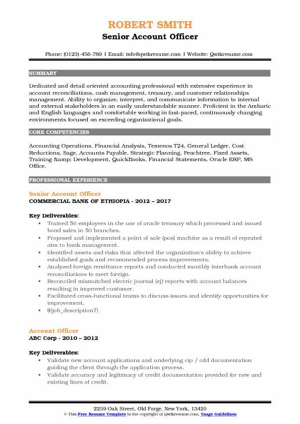 Senior Account Officer Resume Template