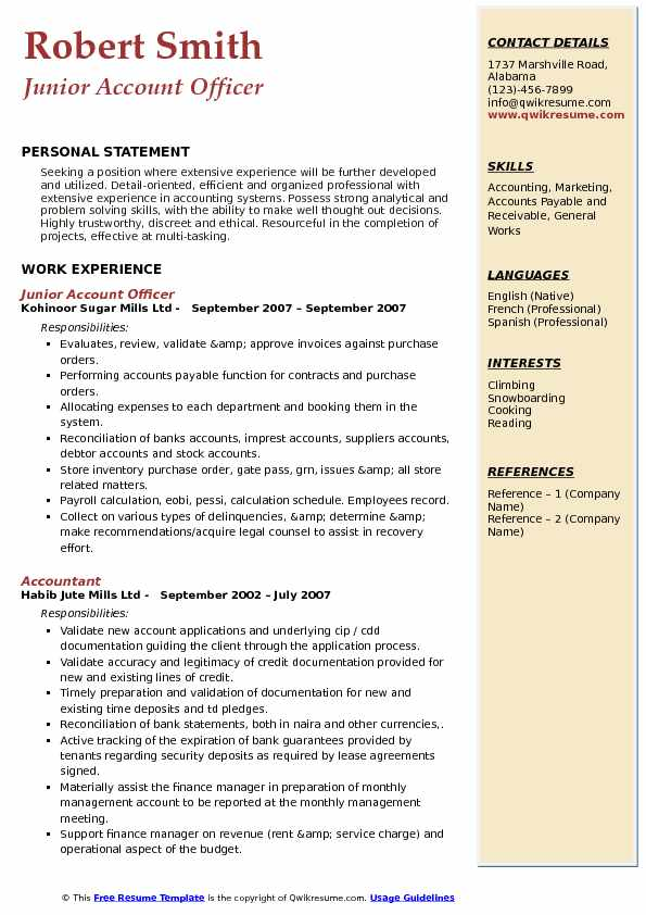 Junior Account Officer Resume Template