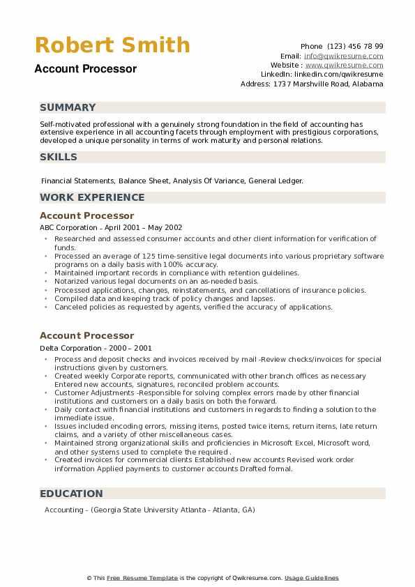 Account Processor Resume example