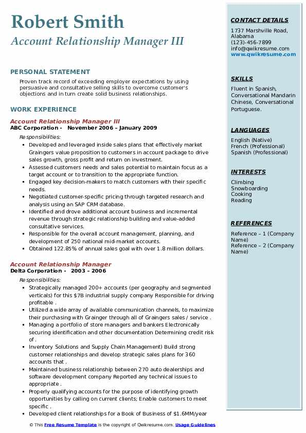 Account Relationship Manager Resume Samples Qwikresume
