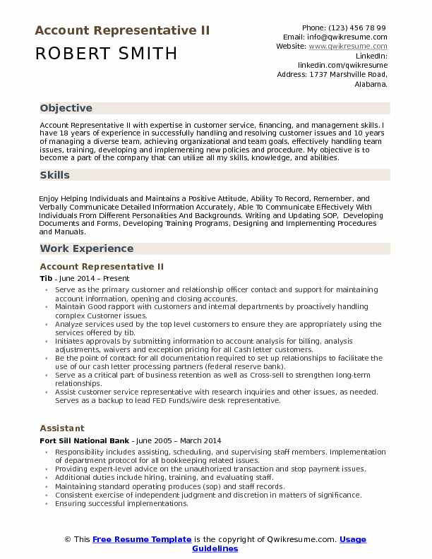 Account Representative II Resume Sample