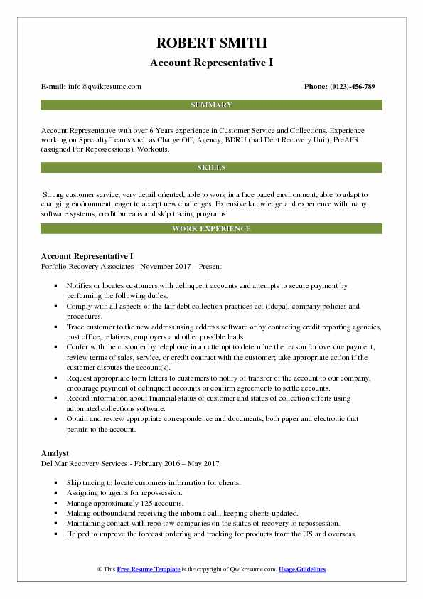 Account Representative I Resume Template