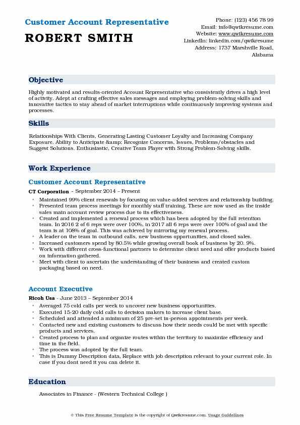 Customer Account Representative Resume Model
