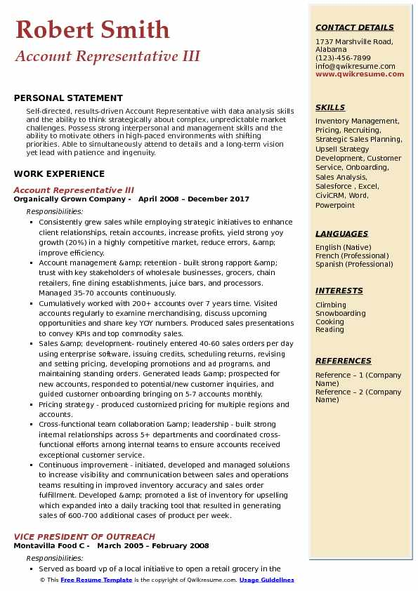 Account Representative III Resume Model