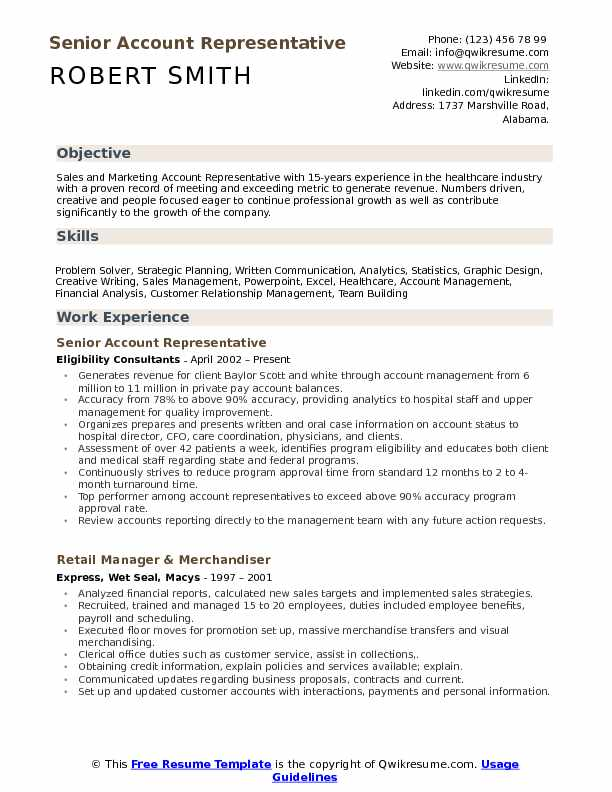 Account Representative Resume example