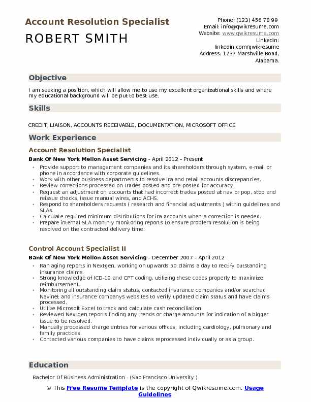 Account Resolution Specialist Resume Sample