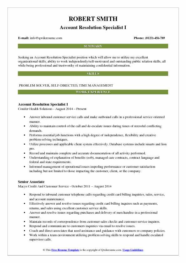 Account Resolution Specialist I Resume Sample