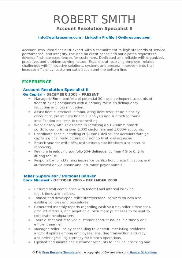 Account Resolution Specialist II Resume Model