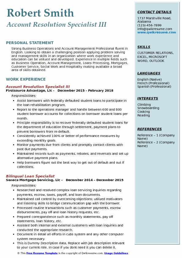 Account Resolution Specialist III Resume Sample