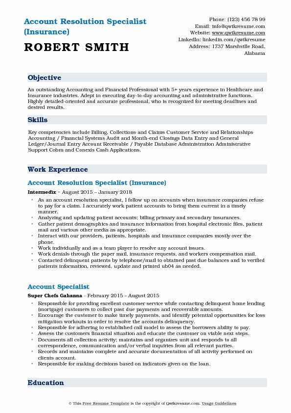 Account Resolution Specialist (Insurance) Resume Format