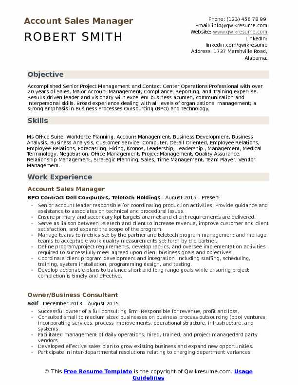 Account Sales Manager Resume Model