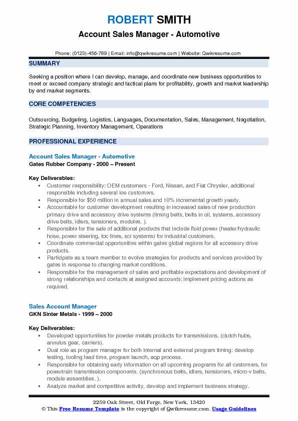 Account Sales Manager - Automotive Resume Format