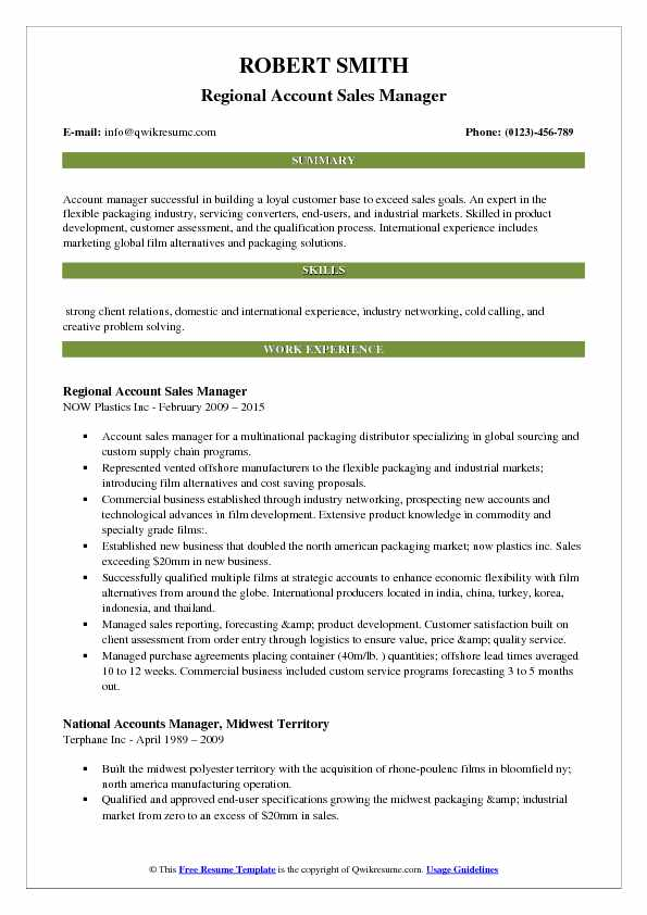 Regional Account Sales Manager Resume Model
