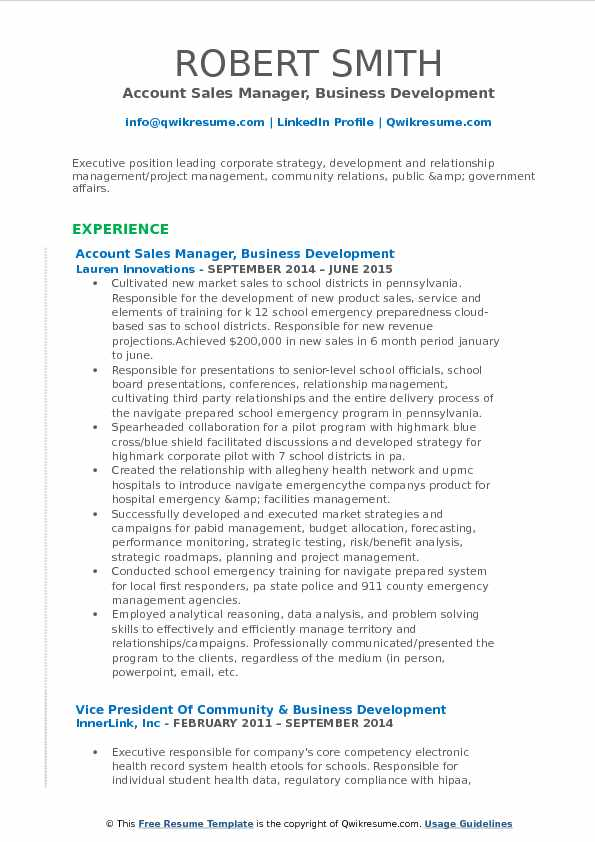 Account Sales Manager, Business Development Resume Sample