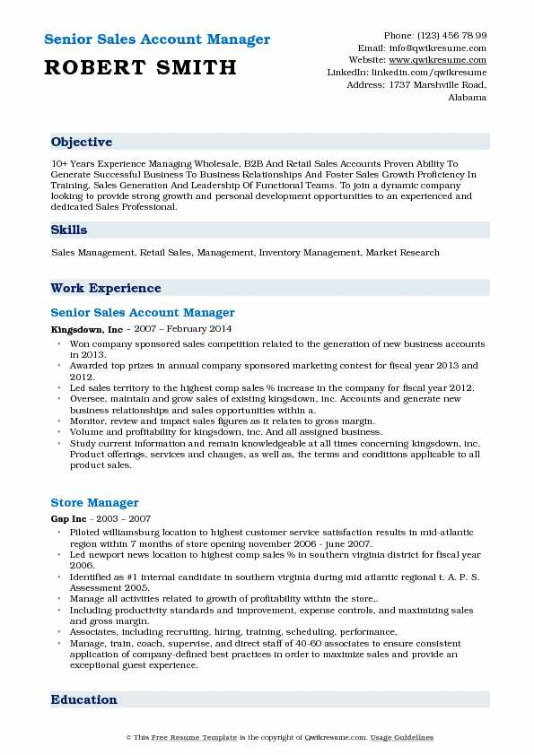 Senior Sales Account Manager Resume Sample