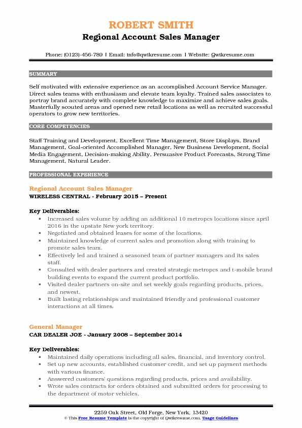 Regional Account Sales Manager Resume Sample