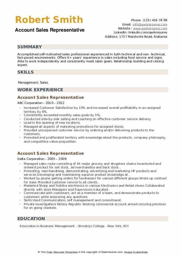 Account Sales Representative Resume example