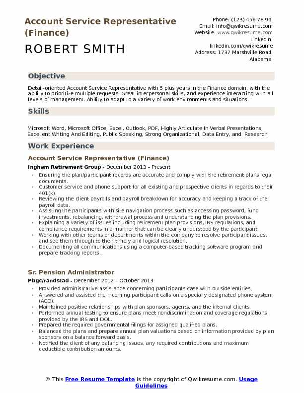 Account Service Representative (Finance) Resume Sample