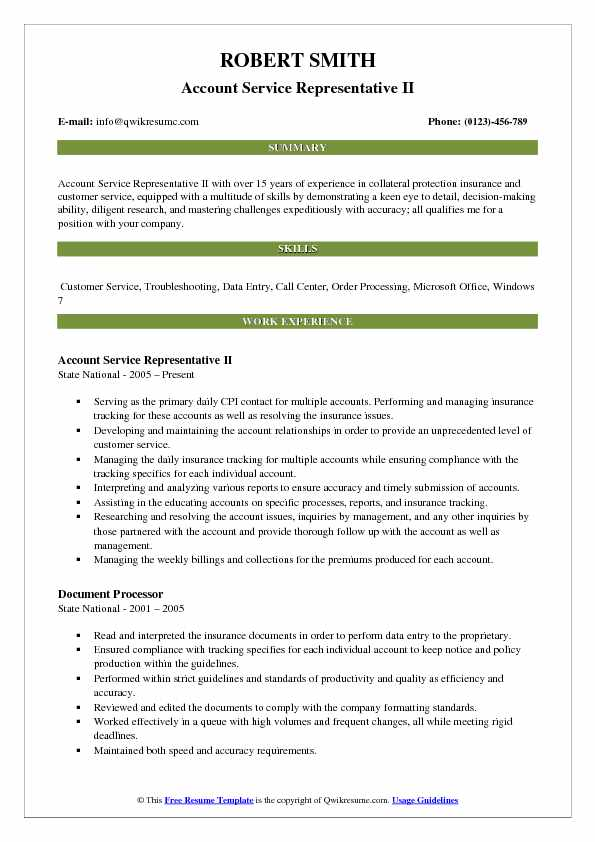 Account Service Representative II Resume Format