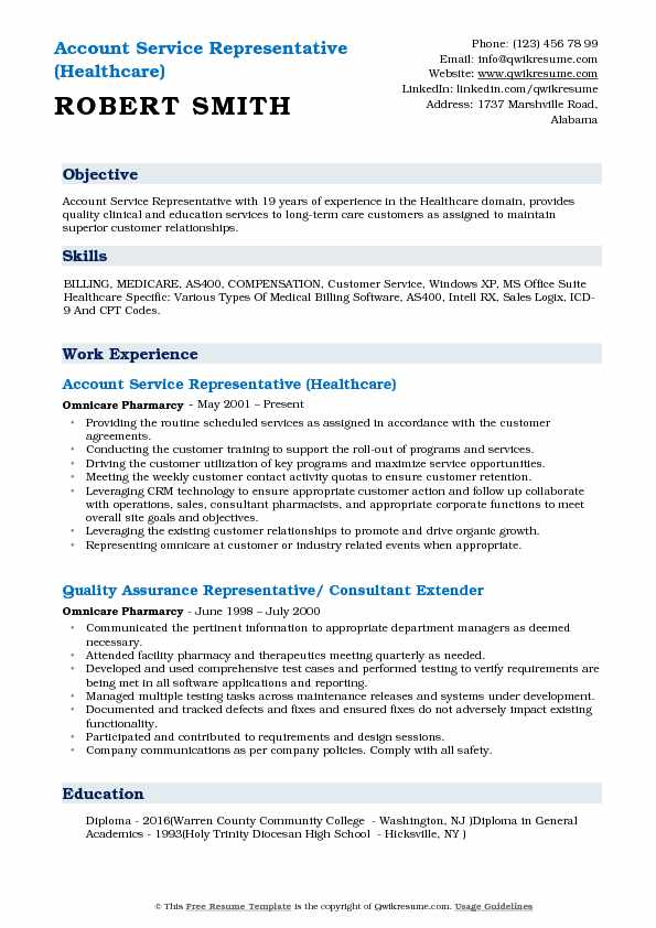 Account Service Representative (Healthcare) Resume Format