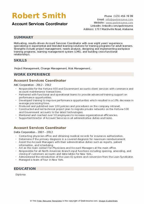 Account Services Coordinator Resume example