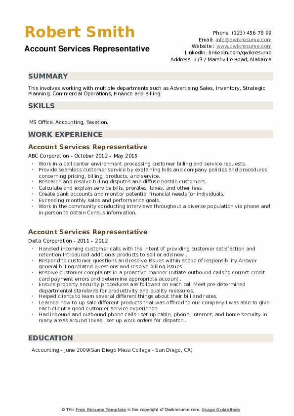 Account Services Representative Resume example