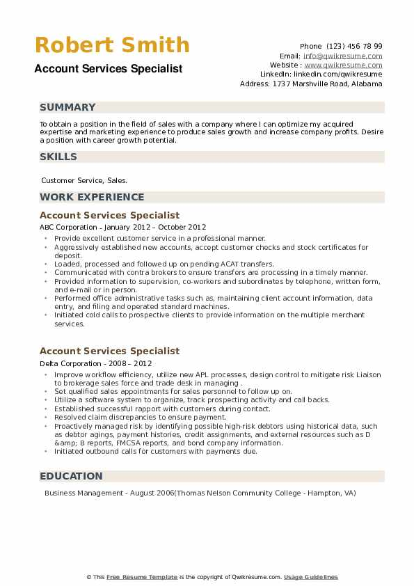 Account Services Specialist Resume example