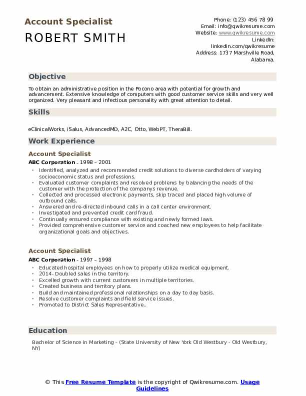 Account Specialist Resume Model
