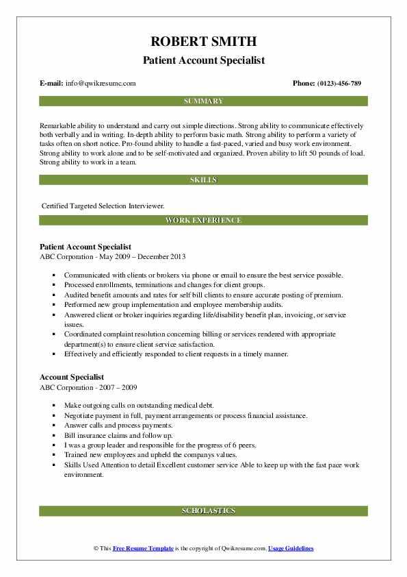 Patient Account Specialist Resume Sample