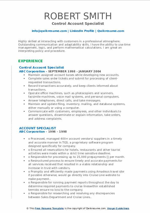 Control Account Specialist Resume Sample