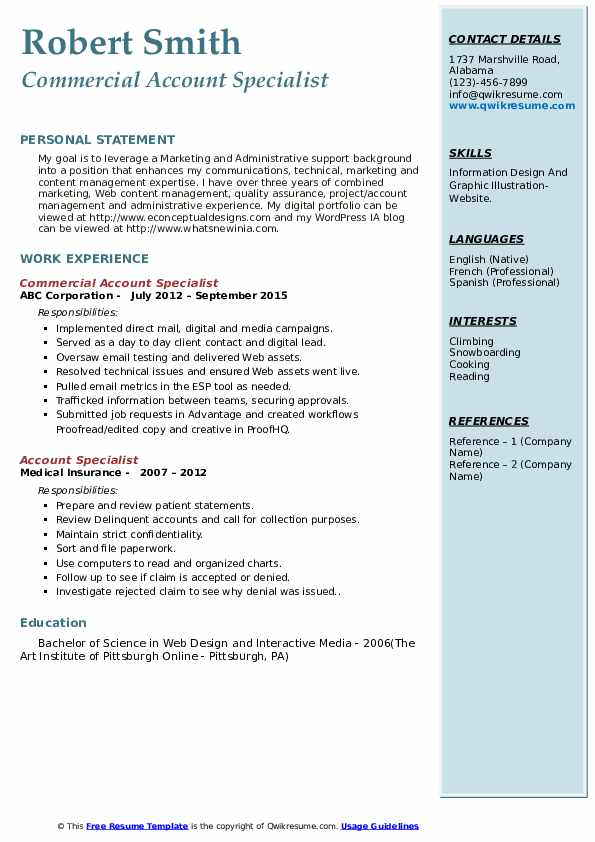 Commercial Account Specialist Resume Template