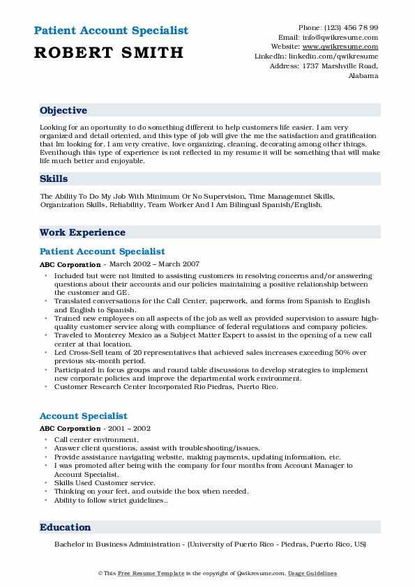 Patient Account Specialist Resume Model
