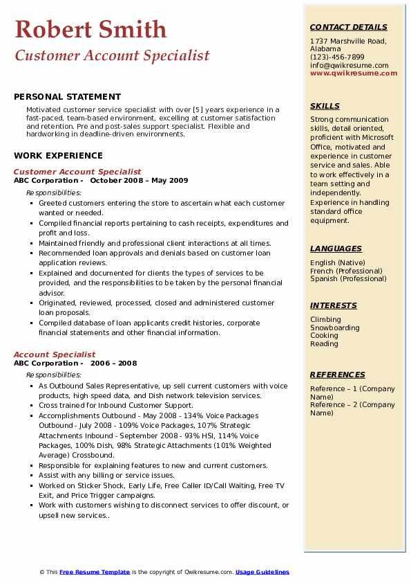 Customer Account Specialist Resume Sample