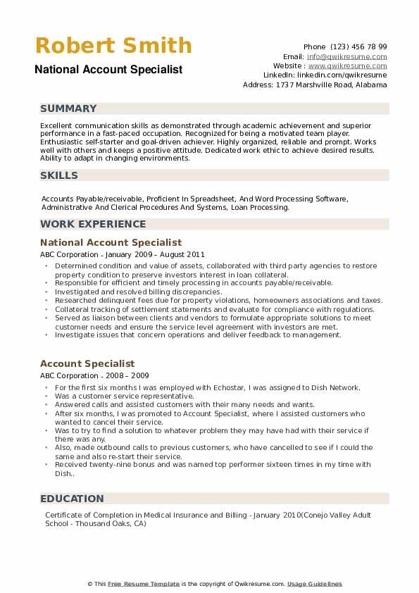 National Account Specialist Resume Example