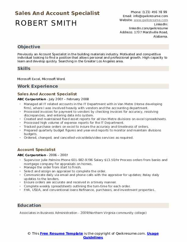 Sales And Account Specialist Resume Example