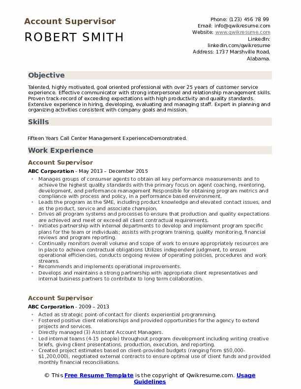 Account Supervisor Resume Example