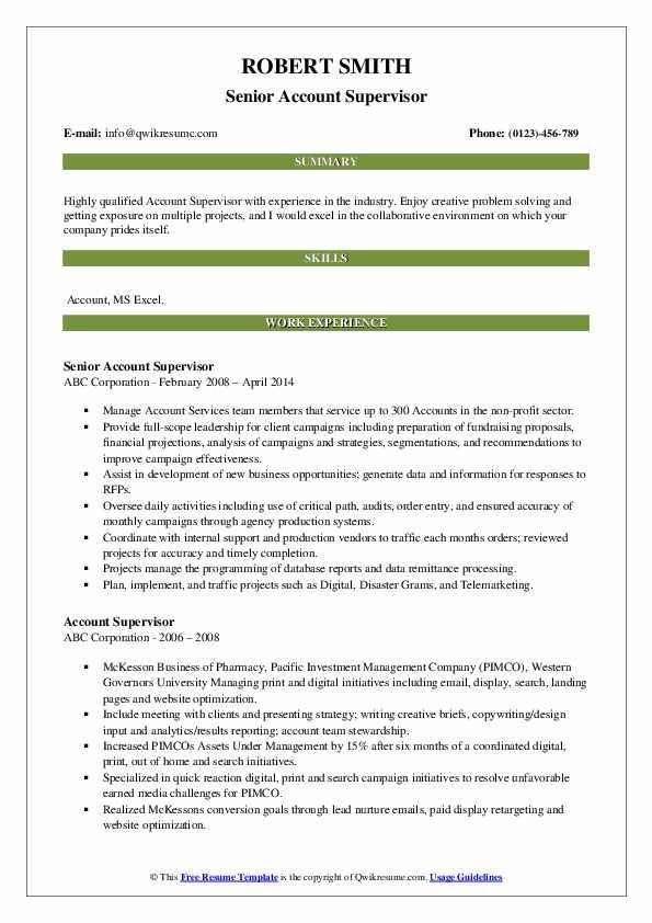 Senior Account Supervisor Resume Template